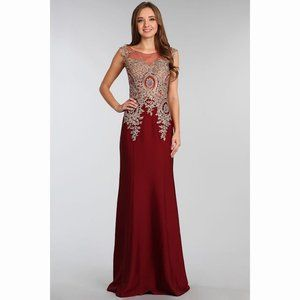 Burgundy Lace Gold Dress